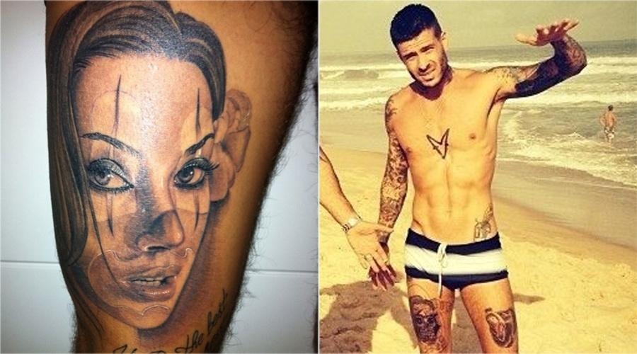 Mateus Verdelho tinha o rosto de Dani Bolina, sua ex-mulher, tatuado na coxa