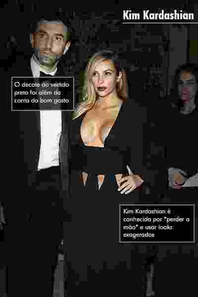 """Kim Kardashian: Conhecida por """"perder a mão"""" e usar looks exagerados, o decote do vestido preto foi além da conta do bom gosto - Getty Images"""
