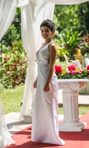 Vestido de casamento da vilã Aline (Vanessa Giácomo), personagem da novela