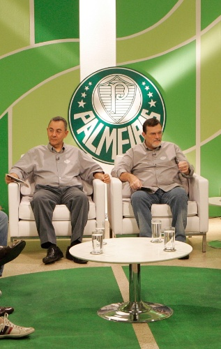 """Em 2014, no dia 5 de janeiro, às 21h30, a TV Gazeta exibe o especial """"Palmeiras ? 100 de História?. Flavio Prado e Chico Lang recebem craques que fizeram história no time alviverde"""