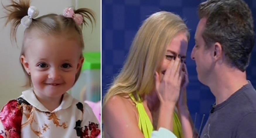 30.nov.2013 - Angélica não conteve as lágrimas ao ver sua filha caçula, Eva, a homenageando pelos seus 40 anos de vida