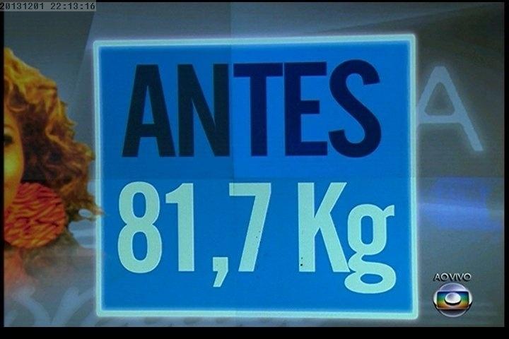 """01.dez.2013 - Quadro mostra o peso de Gaby Amarantos antes de entrar no """"Medida Certa"""", do """"Fantástico"""""""