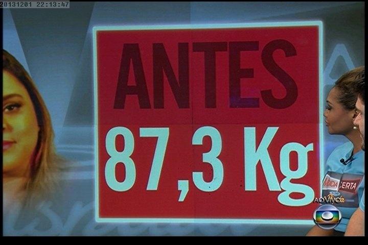 """01.dez.2013 - Quadro mostra o peso de Preta Gil antes de entrar no """"Medida Certa"""", do """"Fantástico"""""""
