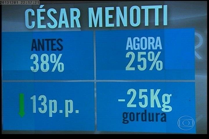 """01.dez.2013 - Quadro mostra o quanto César Menotti perdeu de peso e de gordura depois de sair do """"Medida Certa"""", do """"Fantástico"""""""