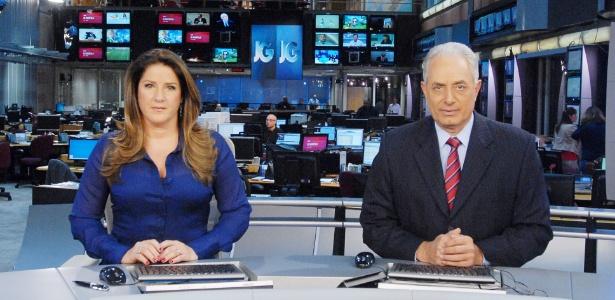 """2013 - Christiane Pelajo e William Waack no """"Jornal da Globo"""", que passará por alterações"""