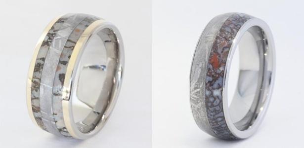 Anéis supostamente feitos de meteorito e fóssil de dinossauro da Jewelry by Johan - Divulgação/Jewelry by Johan