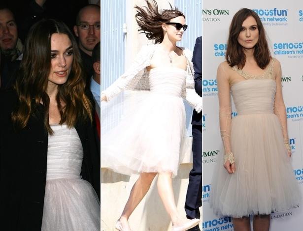 Da esquerda para direita: Keira em 2008, em festa dos prêmios Bafta; em maio de 2013, em seu casamento na França, e nesta terça (3), em evento beneficente em Londres - Getty Images/Grosby Group