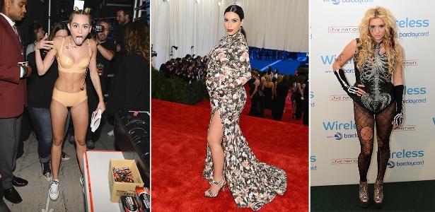 Miley Cyrus, Kim Kardashian e Kesha são alguns exemplos de famosas que não acertam no visual - Getty Images