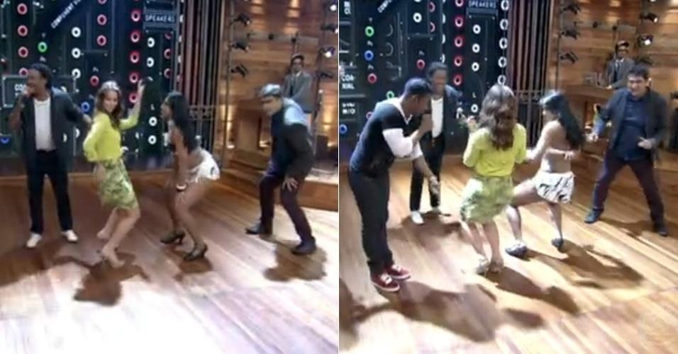 """2.dez.2013 - Paolla Oliveira, a Paloma de """"Amor à Vida"""", se soltou no palco do """"Vídeo Show"""". Ela se jogou no axé e rebolou ao som de uma música do grupo """"É o Tchan"""""""