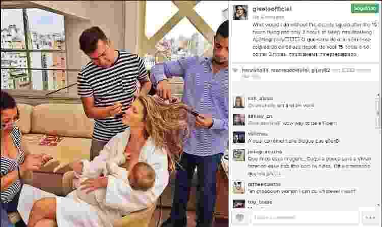 10.dez.2013 - Gisele se prepara para trabalhar enquanto amamenta a filha, Vivan, hoje com 8 anos - Reprodução/Instagram - Reprodução/Instagram