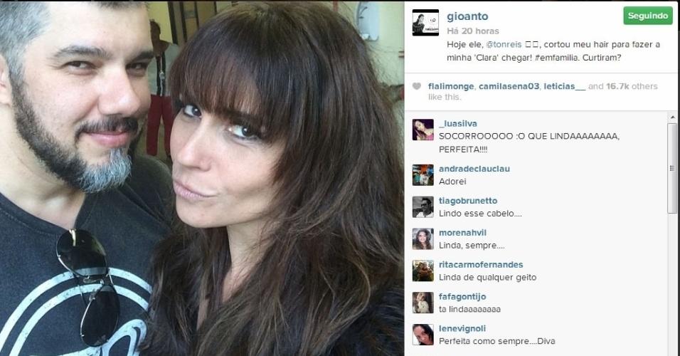 """10.dez.2013 - Giovanna Antonelli adere à franja para viver a homossexual Clara na novela """"Em Família"""""""