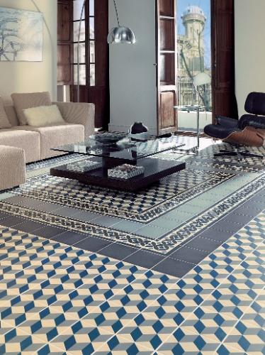 O revestimento em ladrilho hidráulico da linha 1900, da Colormix (www.colormix.com.br), pode ser aplicado em pisos e apresenta modelos com variadas padronagens geométricas, que podem ser combinados para a composição de tapetes