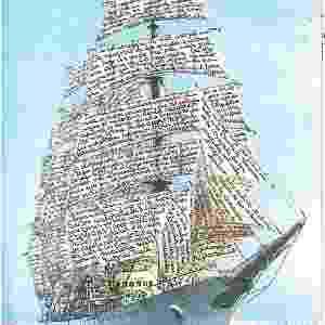 Obra do argentino León Ferrari, da série 'Nunca Más', de 1995, feita com textos escritos à mão em uma fotocópia.  -  ©León Ferrari/Coleção Alicia e León Ferrari/Cortesia da Fundação Augusto e León Ferrari Arte e Acervo