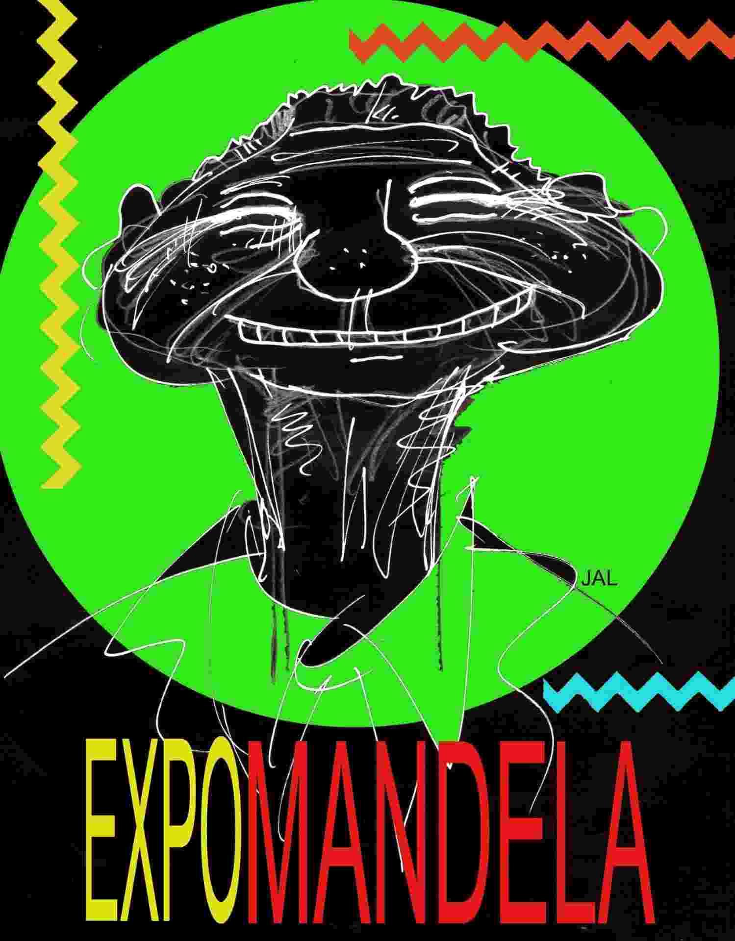 Capa da Flash Expo em homenagem a Nelson Mandela organizada pelo cartunista Jal - Jal