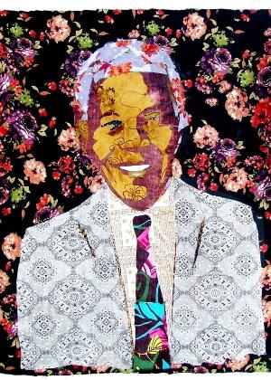 Caricatura de Nelson Mandela assinada por Júnior Lopes
