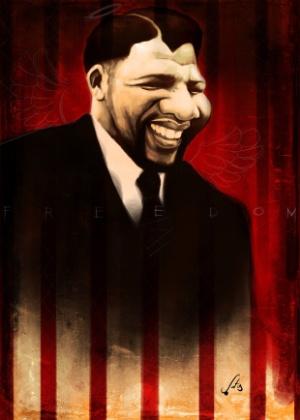 Caricatura de Nelson Mandela, por Alê Santos