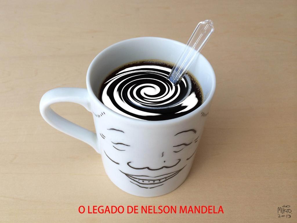 Fotomontagem de Mikio celebra Nelson Mandela