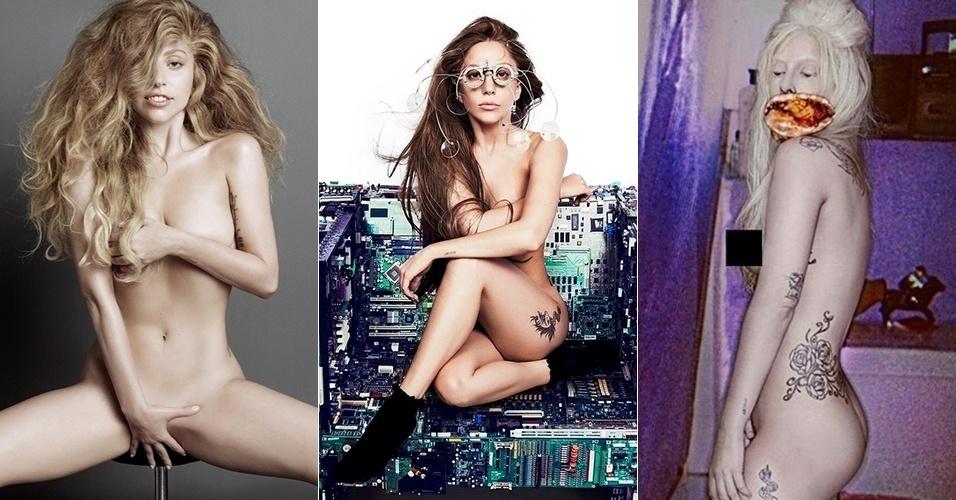 Lady Gaga tira a roupa para revista (esq) e para a divulgação do álbum