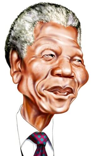 Nei Lima faz caricatura de Nelson Mandela