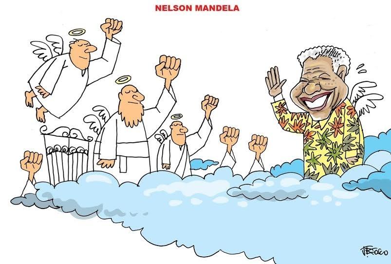 Nelson Mandela é recebido de punhos cerrados no céu na charge de JBosco