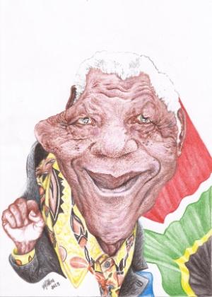 O líder anti-apartheid aparece em frente à bandeira da África do Sul