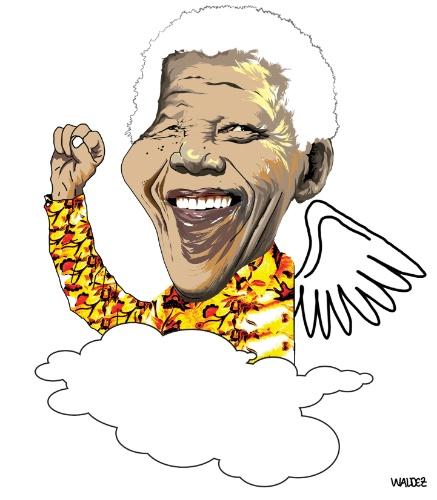 O líder Nelson Mandela vira anjo no traço de Waldez Duarte