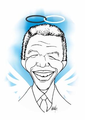 Walter Martins assina caricatura de Nelson Mandela