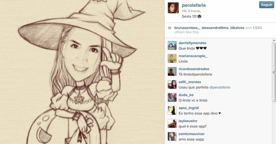 13.dez.2013 - Aproveitando a sexta-feira 13, a atriz Pérola Faria posta caricatura de si como uma bruxinha em seu Instagram.