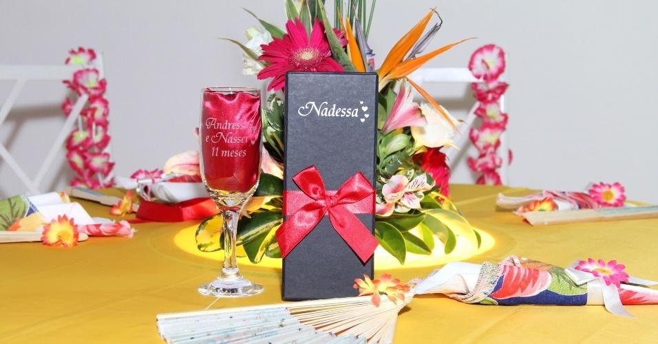 13.dez.2013 - Detalhe da decoração da festa com a junção do nome do casal, que ficou Nadessa