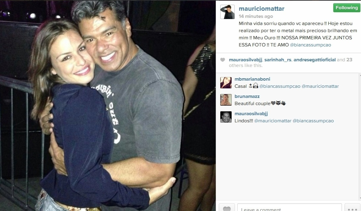 16.dez.2013- Maurício Mattar se declara para a namorada Bianca Assumpção no Instagram.