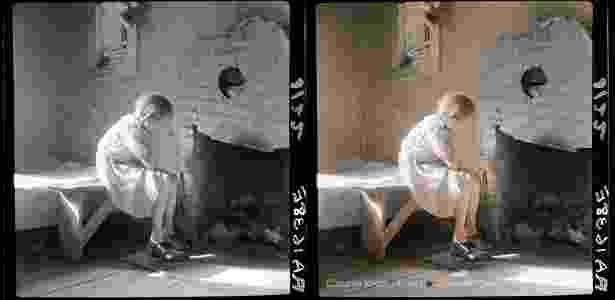 Foto em preto e branco de Dorothea Lange, cortesia da Biblioteca do Congresso dos EUA / Foto colorida: Jordan J. Lloyd / Dynamichrome