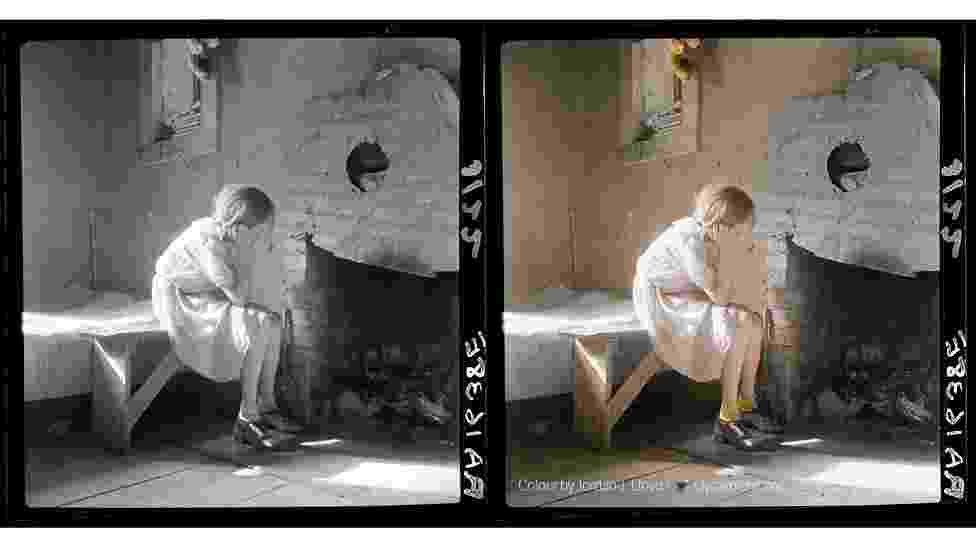 As técnicas para colorir fotos antigas, em preto e branco, melhoraram muito nos últimos anos e uma nova geração de artistas está utilizando a edição digital com resultados surpreendentes. Um destes artistas é Jordan Lloyd e sua companhia Dynachrome, que dão nova vida a imagens como esta fotografia, que documenta a Grande Depressão nos Estados Unidos, no começo do século 20 - Foto em preto e branco de Dorothea Lange, cortesia da Biblioteca do Congresso dos EUA / Foto colorida: Jordan J. Lloyd / Dynamichrome