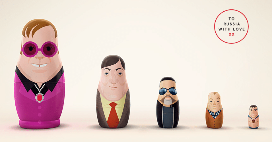 17.dez.2013 - ONG britânica Kaleidoscope Trust faz bonecas russas dos artistas Elton John, Stephen Fry, George Michael, Graham Norton, Tom Daley contra a homofobia na Rússia