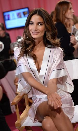 A modelo americana Lily Aldridge nos bastidores do Victoria's Secret Fashion Show, que será exibido no canl a cabo TNT