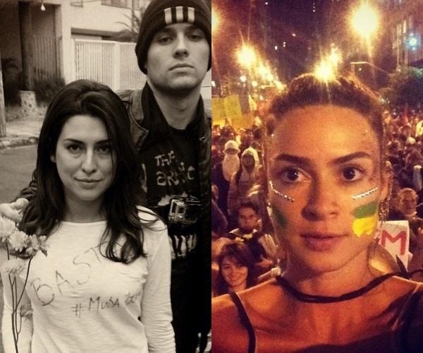 Fernanda Paes Leme e Thaila Ayala participam de protestos no Brasil