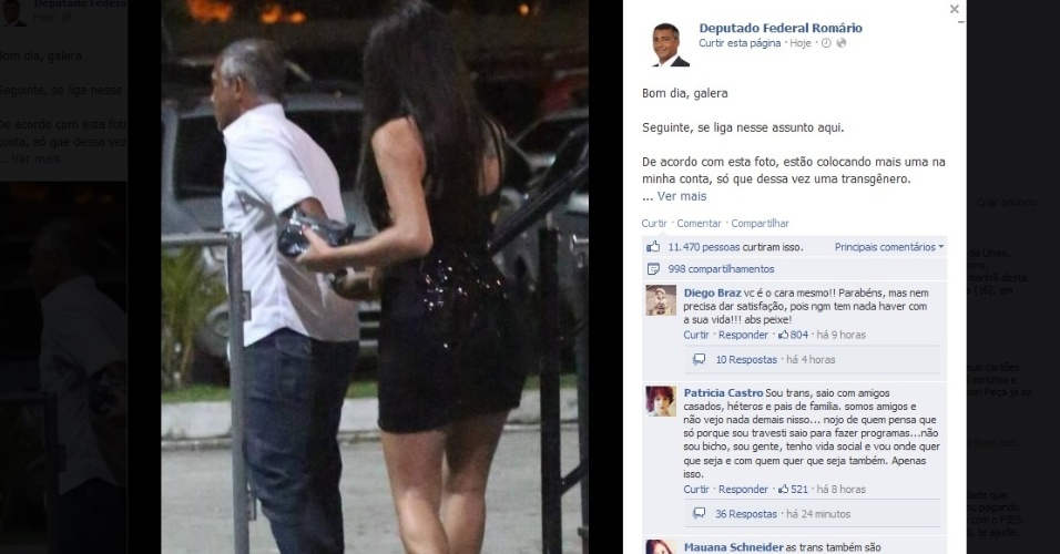 Romário usou o Facebook para explicar foto com a modelo Thalita Zampirolli