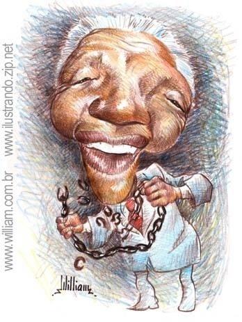 Caricatura de Nelson Mandela assinada por William Medeiros