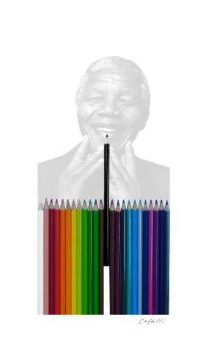 Cartum de Benjamin Cafalli homenageia pluralismo de Mandela