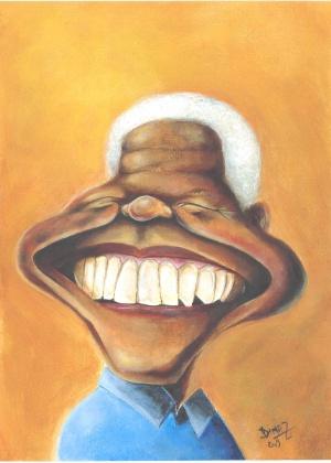 Dimaz Restivo assina caricatura de Nelson Mandela