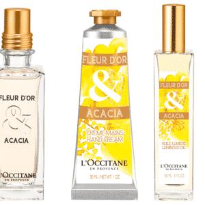 Eau de toilette, óleo corporal e creme de mãos Flor de Ouro, da linha La Collection de Grasse, da marca L?Occitane en Provence - Divulgação