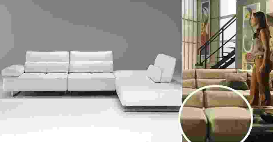 """O sofá B726, da Italsofa do grupo Natuzzi, usado na casa da personagem Paloma (Paolla Oliveira), na novela """"Amor à Vida"""", agradou ao público - TV Globo e Divulgação/Montagem UOL"""