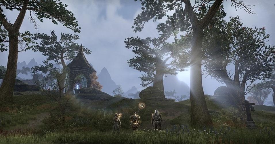 """A franquia de sucesso finalmente chega ao mundo dos MMORPGs em """"Elder Scrolls Online"""" (Windows, Mac, PS4, XBO), em que o jogador poderá escolher entre 9 raças e 3 facções pelo domínio de Tamriel"""