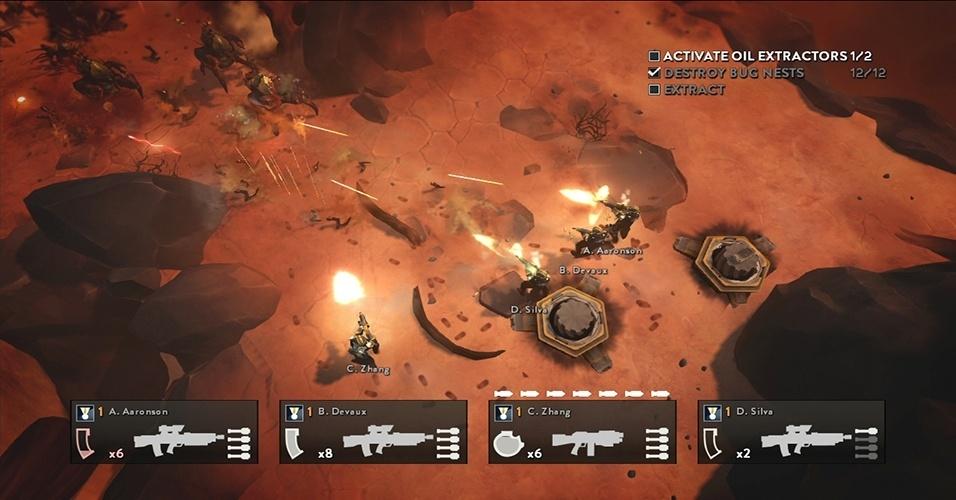 """Em """"Helldivers"""" (PS3, Vita, PS4), o jogador luta uma guerra intergalática com ação frenética vista de cimaS"""