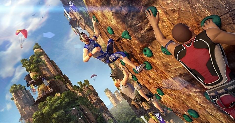 """Exclusivo do Xbox One, """"Kinect Sports Rivals"""" traz competições como escalada, corrida de jet ski e futebol, tudo com a funcionalidade do novo Kinect"""