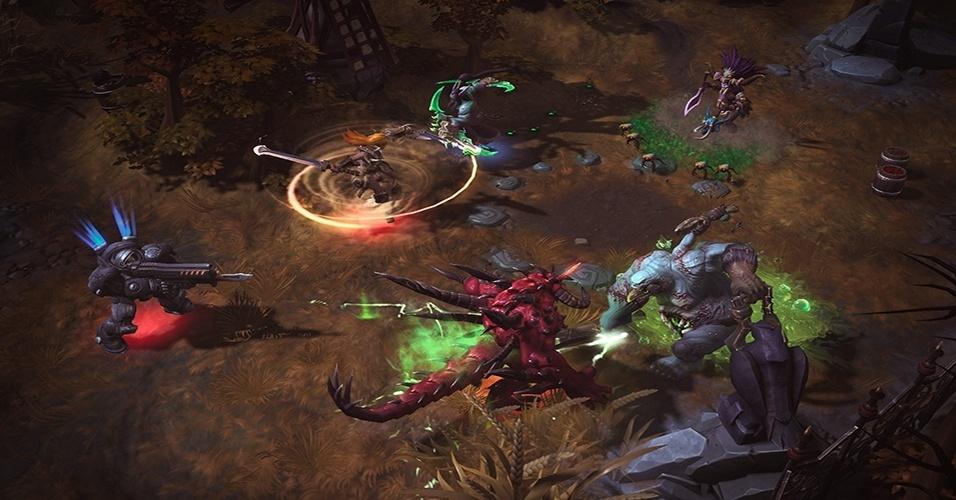 """""""Heroes of the Storm"""" (Windows, Mac) traz herois e personagens clássicos das principais séries da Blizzard - """"Warcraft"""", """"Starcraft"""" e """"Diablo"""" - em um ambiente de batalha em arena"""