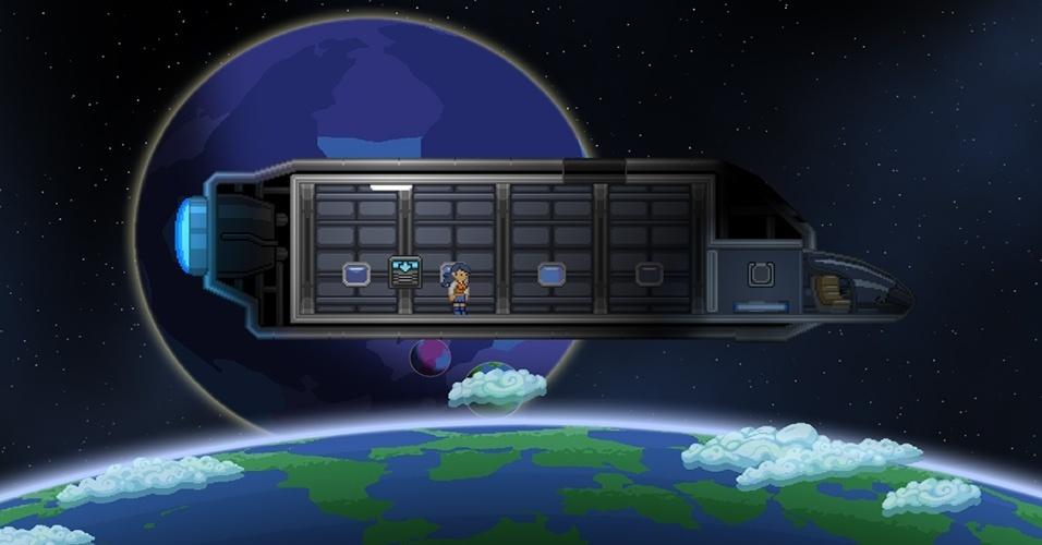 """Já disponível para acesso antecipado pelo Steam, """"Starbound"""" leva os jogadores a explorarem um vasto universo em busca de suprimentos e materiais para melhoria de equipamento"""