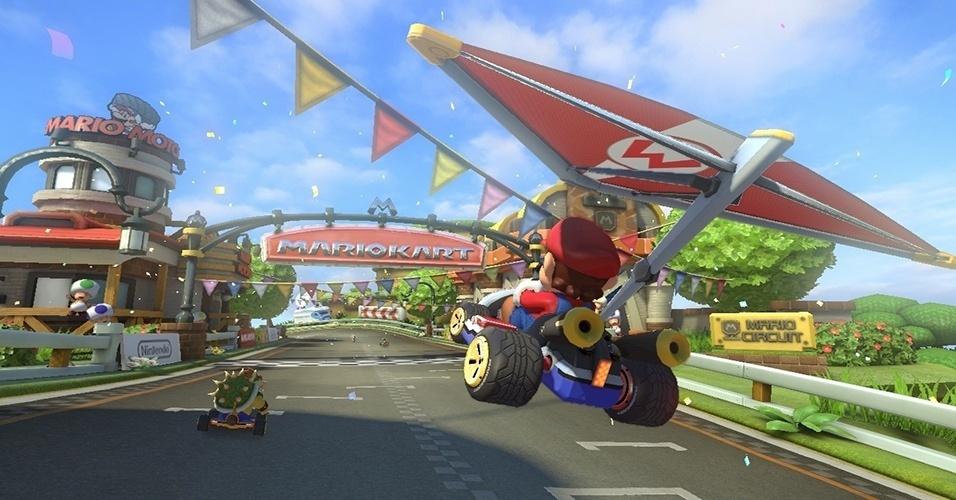 """""""Mario Kart 8"""", exclusivo do Wii U, traz de volta modos como moto e aquático, além de apresentar corridas antigravitacionais"""