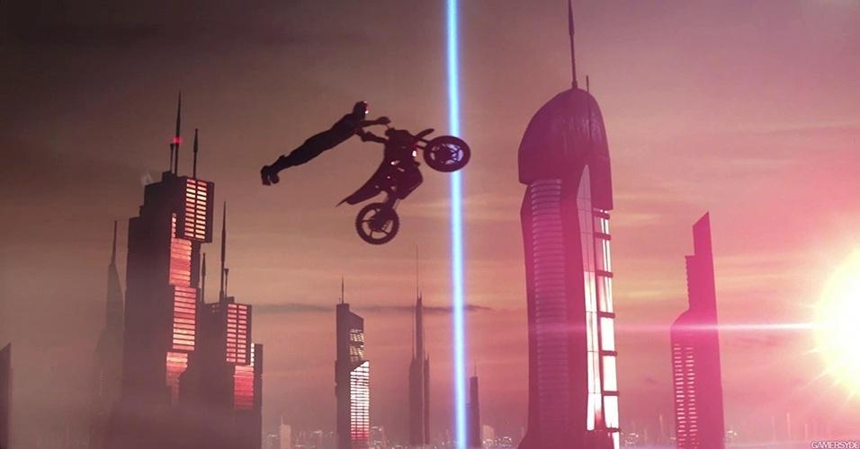 """""""Trials Fusion"""" (Windows, PS4, X360, XBO) traz as desafiadoras pistas com obstáculos da série para um plano de fundo de ficção científica"""