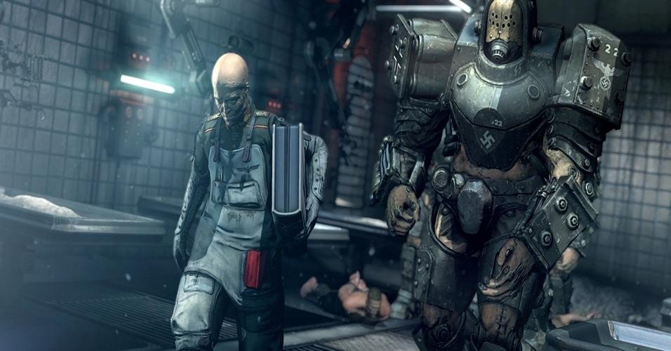 """""""Wolfenstein: The New Order"""" (Windows, PS3, PS4, X360, XBO) traz a ação em primeira pessoa para uma realidade alternativa em que os nazistas vencem a Segunda Guerra, e tem robôs em seu arsenal."""