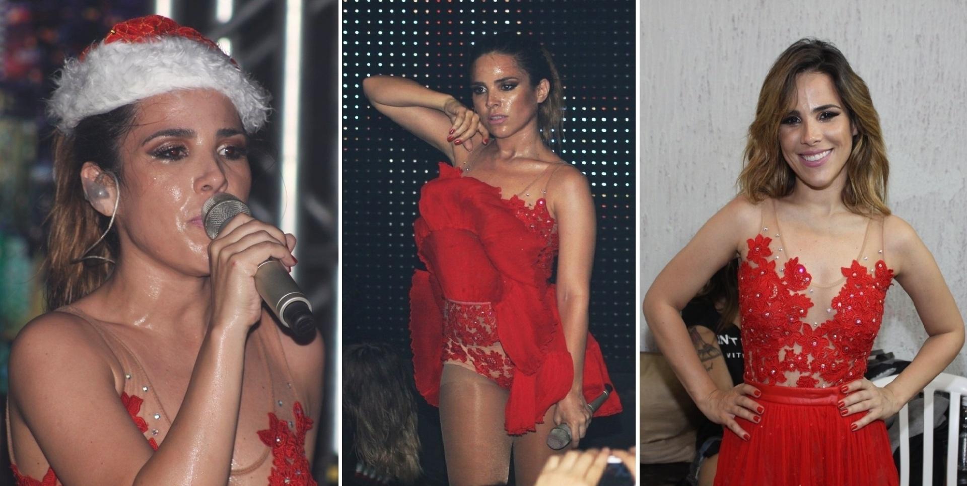 22.dez.2013 - De Mamãe Noel sexy, Wanessa sensualiza em seu último show do ano. A cantora, que está grávida de três meses, se apresentou na madrugada deste domingo (22), em uma casa noturna de Campinas, no interior de São Paulo